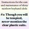 rule 02: no plastic suits