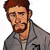 a bit sad, civvies (downcast), worn down, tired