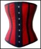 red silk corset