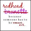 redhead = evil