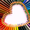 coloured pencil heart