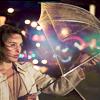 every Starbucks should have a polar bear: ra girl with umbrella