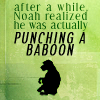 baboon punching by almostaday