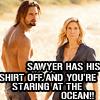 redheadedali: Sawyer is shirtless