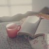 open book and tea