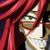 """Grell Sutcliffe (Shizushi - """"The Bloody Geisha"""" ): half face grin"""