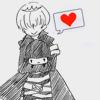 b&w anime heart