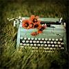 flowered typewriter
