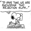 peanuts - rejection slips - alivicwil