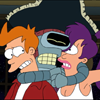 Futurama: Bender strangles Fry and Leela