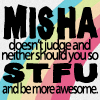 |528491| wishful feather ⇧: Misha | Doesn't judge neither should you