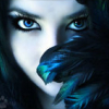 blue, girl, feathers