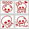 Kawaii Skulls Red
