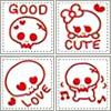 Kawaii Skulls Red