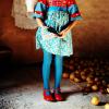 Little girl; blue tights