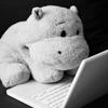 stuffed hippo laptop