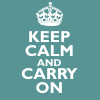 Sarah: text// keep calm and carry on