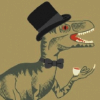 art: dinosaur drinking tea