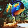 katla: duo. kevin + dug. JUMPING ON YOU BIRD.
