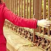 Muppet: Girl: red | railing