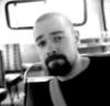 nippondog, bus, monochrome, black and white, beard