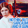 Yvonne: leia sarcasm and gun