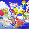 sam: [Digimon] The entire gang   in free fall