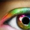 Глаз с цветным зрачком в углу