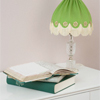 A green lamp and book