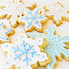 pretty snowflake cookies in white and bl