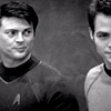 Sky: [star trek aos] bones looking at jim b&w