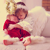 Christmas - angel hugs baby