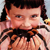 girl eats spider