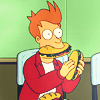 futurama: fry with sandwiches.
