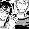 Yankee-kun: Shina smirking, Adachi grinning, holding hands.