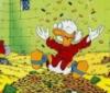 Scrooge w money pile