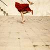 Skipping, Girl in Red Skirt