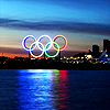 "Olympics 2010 ""Olympic rings reflecting"