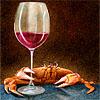 Crab Drinking Wine