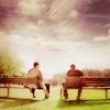 SPN castiel/dean on bench